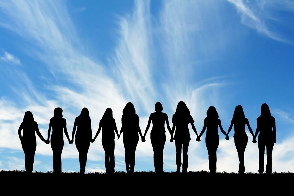 bigstock-Silhouette-of-ten-young-women--15281810